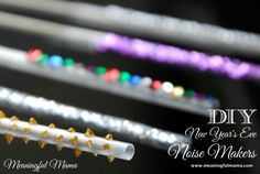 DIY New Year's Eve Party Straw Noisemakers - So Easy…made by doing two cuts into a drinking straw but makes a great sound to replicate a New Year's blower. Meaningful Mama