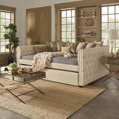 Knightsbridge Queen Size Tufted Nailhead Chesterfield Daybed and Twin Trundle by SIGNAL HILLS