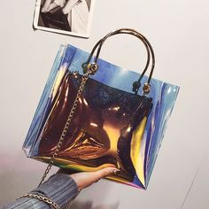 c3d7db362301 Holographic Multicolor Clear Purse Summer Beach Bag -Type A on Sale with  Worldwide FREE SHIPPING. Clear BagsTote ...
