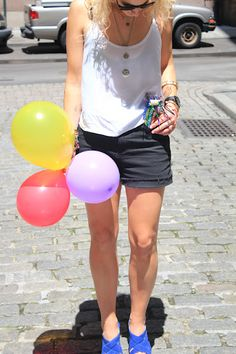 black, white and balloons
