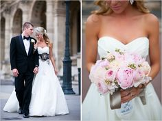 pink wedding bouquet and black belt with white dress