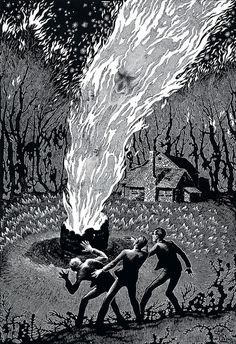 """Virgil Finlay - 66, The Colour Out of Space      """"What eldritch dream-world was this into which he had blundered?""""    — H.P. Lovecraft, The Colour Out of Space"""