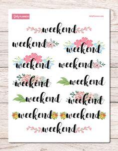 Weekend Flowers Banner / Header Printable Planner Stickers