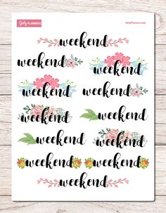 Weekend Flowers Banner / Header Printable Planner Stickers