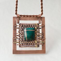 Chryzkros - woven, cross and dark turquoise stone - copper woven pendant with chrysocolla by NADYjewel on Etsy