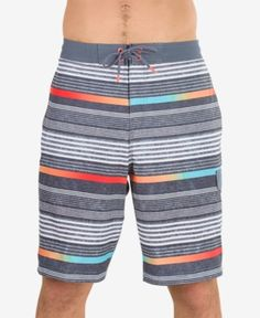 Speedo Men's Striped Swim Trunks - Gray 2XL