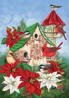 Custom Decor Flag - Christmas Birdhouse Decorative Flag at Garden House Flags