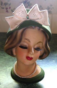 "Enesco Lady Head Vase green with bow 6 1/2"" Vintage Mannequin, Mannequin Heads, Vintage Planters, Vintage Vases, Vintage Love, Doll Head, Vintage Ceramic, Head Planters, Half Dolls"