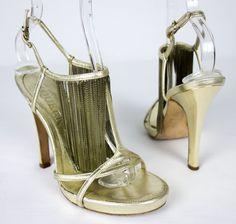 ALEXANDER MCQUEEN Gold Fringe Metallic Sandal Size 37 6.5 7 Heels T Strap Shoes #AlexanderMcQueen #Strappy #Formal