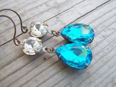 Aqua Rhinestone Earrings Pear Shaped Brass by gristmilldesigns, $19.95