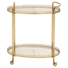 Glass-top tea cart in gold with 2 tiers with raised linked edges