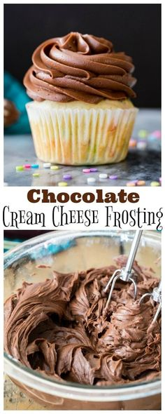 How to make Chocolate Cream Cheese Frosting! Smooth creamy, and perfect for piping, this is always a hit! #frosting #icing #chocolatefrosting #creamcheesefrosting #dessert #recipe Chocolate Cream Cheese Icing, Chocolate Icing Recipes, Butter Cream Cheese Frosting, Chocolate Cream Cheese Frosting, Cream Cheese Desserts, Köstliche Desserts, Cream Cheeses, Simple Chocolate Frosting Recipe, Chocolate Icing For Cake