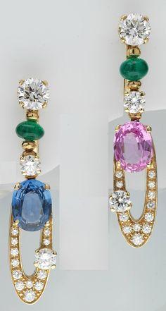 Bulgari Elisia Beautiful Pair of Gem Set Diamond Gold Pendant Earrings image 2