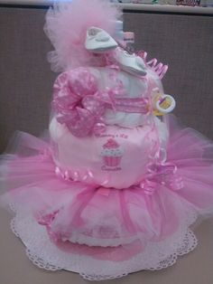 Cupcakes! Pink Princess Diaper Cake