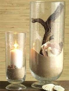 10 Pillar Candle Holder Ideas With A Beach And Coastal Theme. Hurricane VaseBeach  ThemesDecorating With Glass ...