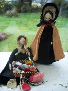 Early Pair Peg Wooden Dolls One Is Sewing Knitting Seller with Basket | eBay