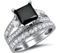 3.65 CT Turkish Princess Cut Round Black Sapphire Ring, Couple Ring White Gold Filled Wedding Ring, Medusa Jewelry For Women