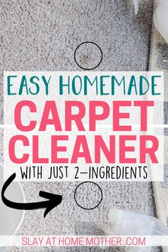 DIY Carpet Cleaner Solution This easy two-ingredient DIY carpet stain remover cleans carpets messes and stains left from food s Carpet Spot Cleaner, Carpet Spot Remover, Diy Carpet Stain Remover, Carpet Cleaner Solution, Carpet Cleaners, House Cleaning Tips, Diy Cleaning Products, Cleaning Solutions, Cleaning Hacks