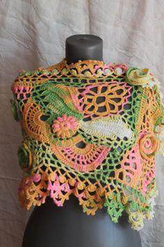Boho Chic Multicolor Freeform Crochet Scarf Shawl Cape Wrap
