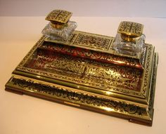 Great quality English inkstand with brass and tortoiseshell inlays, double cut crystal inkwells with hinged mahogany and brass lids. 12 x 8 1/2\. Lovely anr unusually fine quality. c. 1870.,