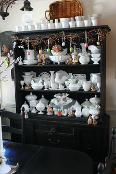 I need a dark hutch or cupboard like this for all of my milk glass, too.
