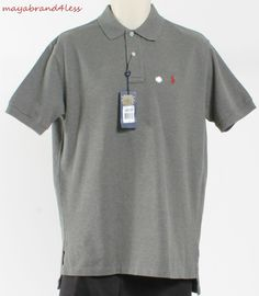 RALPH LAUREN POLO OUTLET PRICE MENS CLASSIC FIT POLO SHIRT HERITAGE GREY SZ M #RALPHLAUREN #PoloRugby