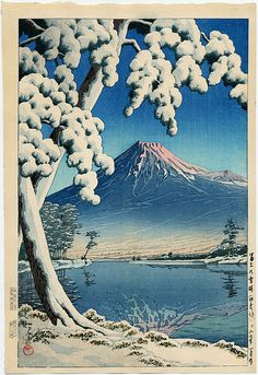 蓮井、川瀬による「富士山、Tagonouraビーチの降雪後のクリア」
