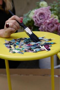 4 Easy Decor Moves That Only Take Half A Day #refinery29  http://www.refinery29.com/decorating-tips#slide3  Decoupage Away This method of gluing odd bits of paper onto furniture may be old-school, but it's still transformative. The trick is seeking out unusual images. I use vintage comics, maps, or even labels. Because the color palettes are generally softer, the piece always ends up looking more expensive than it really is.