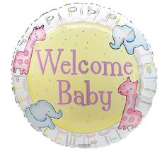 "Welcome Baby Animal Crackers 18"" Mylar, includes helium and curling ribbon. Please select self pick up or balloon delivery upon check out"