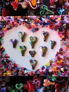 #Creating #Dichroic #Rainbow #Swirly #Hearts; #yummy; I am adding #glittery #metallic #crystal #love to the #world