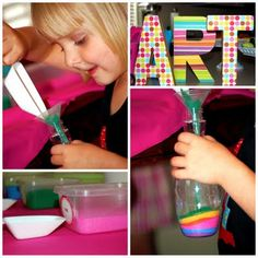Rainbow Art Party~ Gr8 ideas for artsy projects, sand art, painting, make your own lollipop, gumball art, and more, gr8 inspiration!