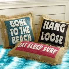 Surf Saying Pillow Cover(Surf/Beach-Inspired Decor)