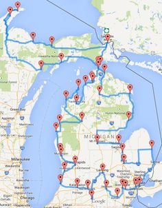 """This """"optimized"""" Michigan road trip will take you hours to complete. According to Randy Olson, miles and 43 stops is the perfect road trip around Michigan. Olson – who's about to graduate from Michigan State University Lac Michigan, Northern Michigan, Higgins Lake Michigan, Port Austin Michigan, Houghton Lake Michigan, Torch Lake Michigan, Michigan Facts, Vacation Places, Places To Travel"""