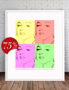 Marilyn Monroe poster Red Yellow Green от ArtBoutiqueButterfly