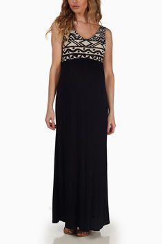 Black Tribal Print Top Maternity Maxi Dress