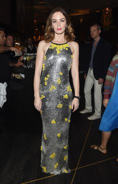 Emily Blunt in an Emilio Pucci allover crystal halter-neck backless dress at the IWC Schaffhausen Gala // Art Basel style