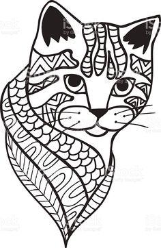 Cat Black and white doodle print with ethnic patterns royalty-free cat black and white doodle print with ethnic patterns stok vektör sanatı & baskı sanatı'nin daha fazla görseli