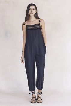 your sneak peek at madewell's spring 2016 collection: embroidered jumpsuit + leather lace-up sandals. pre-order your favorites now by calling 866-544-1937 (434-385-5792 for our international friends) or email shopfirst@madewell.com to get first dibs  #everydaymadewell
