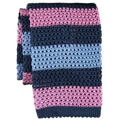 Knitted Ties - Navy / Pink Stripe Knitted Tie by KJ Beckett