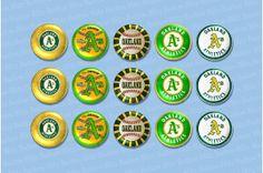 15 Oakland A's Baseball 1 or 1.25 Inch Button Set by ButtonBlitz, $6.95