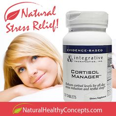 Cortisol Manager by Integrative Therapeutics is a natural cortisol supplement designed to reduce stress and relieve sleeplessness -- available at www.naturalhealthyconcepts.com.