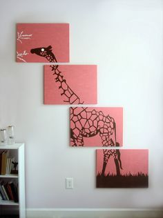 Giraffe Painting - Pink Giraffe Art - Nursery Art - Brown White - Zoo Animal Silhouette - Safari Wall Art  18 x 24 (Set of 4). $260.00, via Etsy.