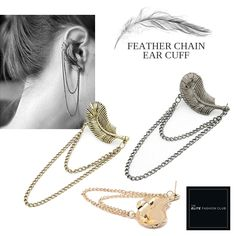 TEFC Feather Chain Ear Cuff | Use this exclusive code: PINTEREST05 for 5% off all fashion products @ theelitefashionclub.storenvy.com