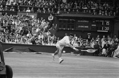 Australian tennis player Ken Rosewall competing against fellow Australian John Newcombe in the semi-final of the Mens Singles at Wimbledon, 1st July 1971. Newcombe won the match 6-1. 6-1, 6-3.