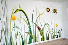 Easy Playroom Mural Design Ideas For Kids 48 Playroom Mural, Kids Wall Murals, Playroom Design, Bedroom Murals, Kids Room Design, Kid Playroom, Mural Painting, Mural Art, Flower Mural