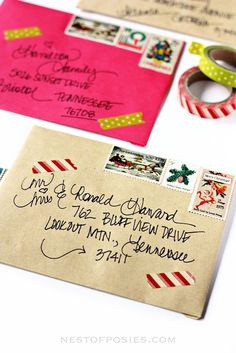 Addressing Christmas Envelopes using Washi Tape, vintage stamps & more