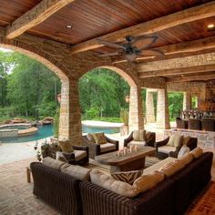 Prominence Home Beauxregard Tropical 52 Aged Bronze Ceiling Fan, Mocha Blades, 3 Speed Remote, Brown Rustic Home Design, Dream Home Design, My Dream Home, Rustic Homes, Tuscan Design, Log Home Designs, Kitchen Designs, Outdoor Rooms, Outdoor Decor
