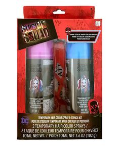 Harley Quinn Pink and Blue Temporary Hair Color Spray and Stencil Kit: Officially licensed Suicide Squad Harley Quinn accessory kit. Product includes 2 temporary pink and blue hair color spray and 1 checkered stencil. Hair Color Blue, Blue Hair, Clown Hair, Harley And Joker Love, Color Spray, Color Kit, Makeup Kit, Pink, Girl Room Decor