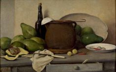 Francisco Oller, Still Life with Avocados and Utensils