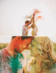 holi powder engagement session. like the color run for your wedding! yes please.